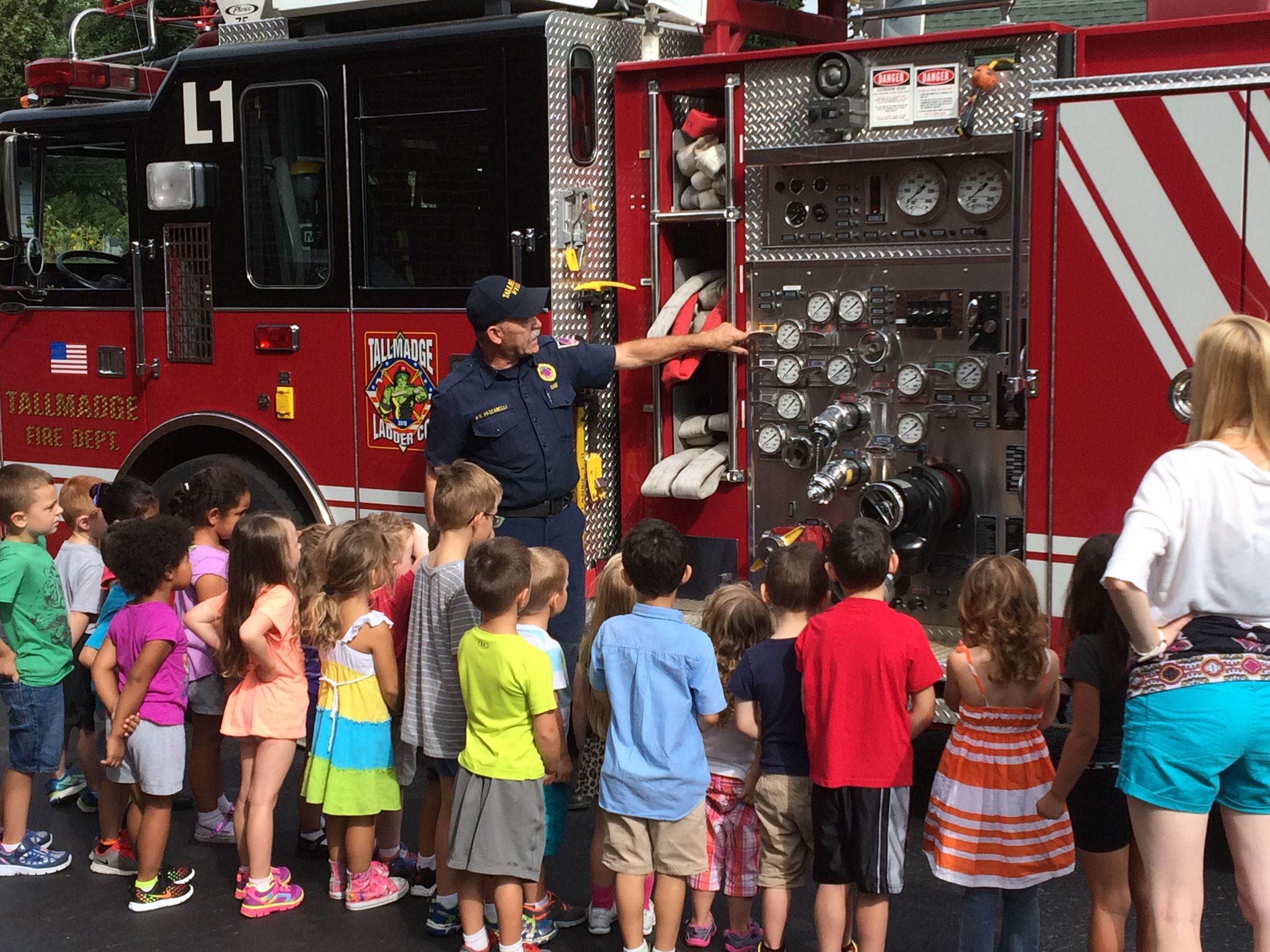 Chief Passarelli educating children on fire safety.